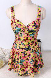 Cute Butterfly Printed Cut Out One-Piece Swimwear For Women -