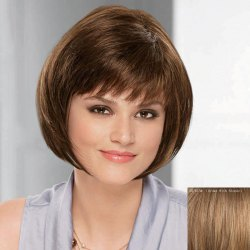 Bob Style Straight Capless Trendy Short Inclined Bang Real Natural Hair Wig For Women -