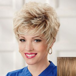 Ladylike Side Bang Capless Shaggy Short Curly Real Natural Hair Wig For Women -