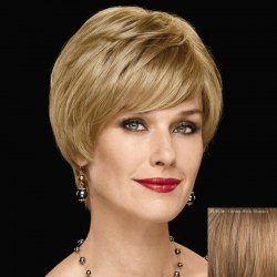Graceful Inclined Bang Capless Fashion Short Straight Human Hair Wig For Women -