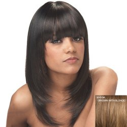 Attractive Full Bang Capless Fashion Straight Long Layered Human Hair Wig For Women -