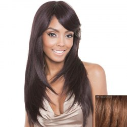 Stunning Side Bang Capless  Human Hair Vogue Straight Long Wig - AUBURN BROWN