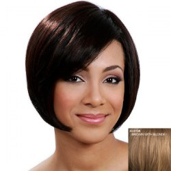 Stylish Side Bang Capless Graceful Straight Short Bob Human Hair Wig - BROWN WITH BLONDE