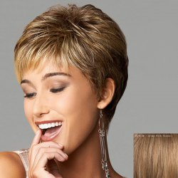 Human Hair Spiffy Ultrashort Capless Fluffy Wavy Side Bang Wig -