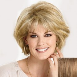 Graceful Inclined Bang Short Capless Fluffy Wave Real Human Hair Wig For Women -