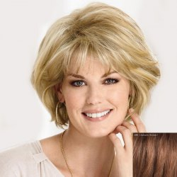 Graceful Inclined Bang Short Capless Fluffy Wave Real Human Hair Wig For Women