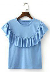 Round Collar Ruffle T-Shirt - LIGHT BLUE S