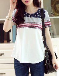 Trendy Round Collar Short Sleeve Geometric Print Slimming Women's T-Shirt