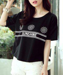 Chic Floral Print Letter Pattern Loose-Fitting Women's T-Shirt -