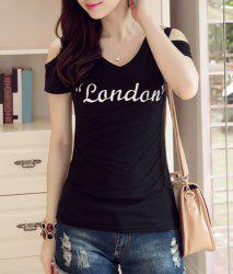 Trendy V-Neck Short Sleeve Letter Print Cut Out Women's T-Shirt