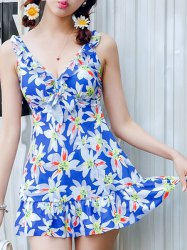 Endearing Floral Printed Flounced One-Piece Swimwear For Women -