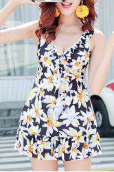 Endearing Floral Printed Flounced One-Piece Swimwear For Women