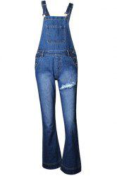 Stylish Denim Blue Flare Leg Ripped Overall For Women -