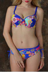 Graceful Spaghetti Strap Plus Size Flower Pattern Underwire Bikini Set For Women