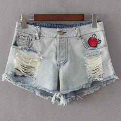Graceful High Waist Flower Embroidery Ripped Denim Shorts For Women -
