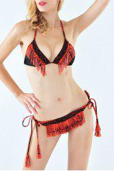 Ethnic Style Halter Neck Tassels Embellished   String Bikini Set For Women