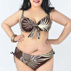 Simple Spaghetti Strap Leaves Print Bikini Set For Women