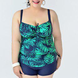 Simple Spaghetti Strap Leaves Print Two Piece Swimsuit For Women -