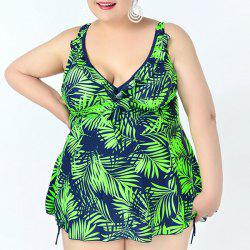 Simple Plunging Neck Leaves Print Two Piece Swimsuit For Women -