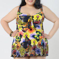 Chic Sweetheart Neck Butterfly and Flower Print Swimsuit For Women -