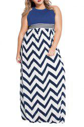 Stylish Keyhole Neckline Zig Zag Print High Waisted Women's Dress -