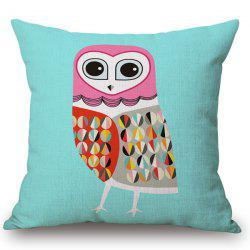 Stylish Abstract Night Owl Pattern Square Shape Flax Pillowcase (Without Pillow Inner) -