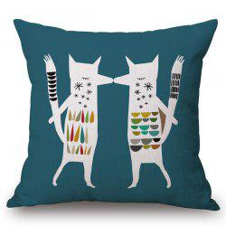 Stylish Abstract Fox Pattern Square Shape Flax Pillowcase (Without Pillow Inner) -
