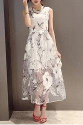 Sleeveless Print See-Through Midi Dress -