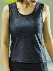 Stylish Scoop Neck Printed Patchwork Sport Tank Top For Women -