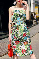 Floral Print Strapless Dress