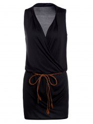 Casual Plunging Neck Black Sleeveless Dress For Women -