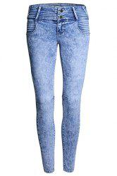 Stylish High Waist Pleated Frayed Zipper Fly Skinny Jeans For Women -