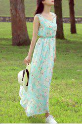 Refreshing Scoop Neck Sleeveless Tiny Floral Print Women's Dress -