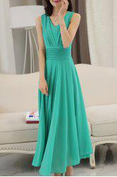 V Neck Sleeveless Flowy Chiffon Long Maxi Prom Dress - GREEN