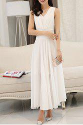 V Neck Sleeveless Flowy Chiffon Maxi Prom Dress