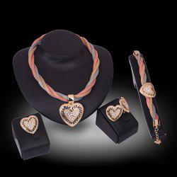 A Suit of Stylish Rhinestone Hollow Out Hearts Necklace Bracelet Ring and Earrings For Women - GOLDEN