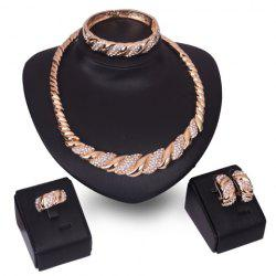 A Suit of Rhinestone Cable Knit Jewelry Set