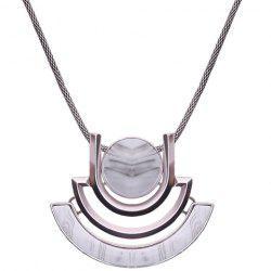 Stylish Faux Gem Hollow Out Alloy Pendant Necklace For Women - COLORMIX