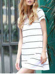 Trendy Round Collar Short Sleeve Striped Loose-Fitting Women's Dress
