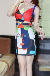 Trendy Strappy Printed Cut Out Bodycon Dress For Women -