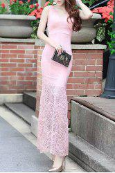 Tight V-Neck Mermaid Fishtail Full Lace Prom Maxi Dress