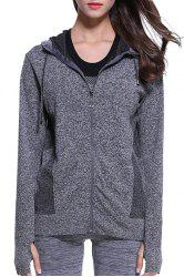 Active Hooded Long Sleeves Zipper Design Hoodie For Women -