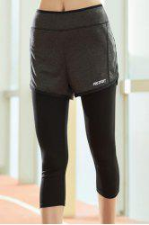 Chic High-Waisted Fake Two-Piece Capri Sport Pants For Women -