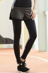 Chic High-Waisted Stretch Fake Two-Piece Sport Pants For Women -