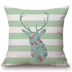 Chic Floral Deer Striped Pattern Square Shape Flax Pillowcase (Without Pillow Inner) -