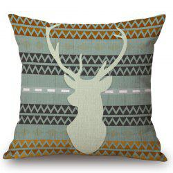 Chic Deer Contour Pattern Square Shape Flax Pillowcase (Without Pillow Inner) -