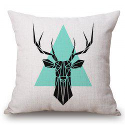 Chic Geometric Deer and Triangle Pattern Square Shape Flax Pillowcase (Without Pillow Inner) -