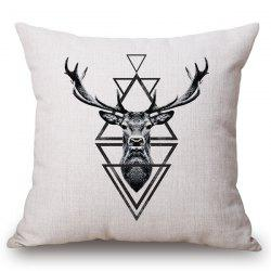 Chic Deer and Triangle Pattern Square Shape Flax Pillowcase (Without Pillow Inner) -