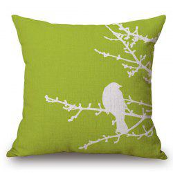 Chic Bird Pattern Square Shape Flax Pillowcase (Without Pillow Inner) -
