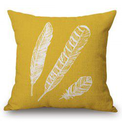 Chic Feathers Pattern Square Shape Flax Pillowcase (Without Pillow Inner) -